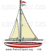 Retro Clipart of a Toy Sailboat with Flags on White by Andy Nortnik