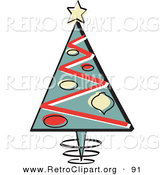 Retro Clipart of a Triangular Christmas Tree with Ornaments and a Star on Top over White by Andy Nortnik