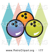Retro Clipart of a Trio of Blue, Orange and Green Bowling Balls over Colorful Diamonds on White by Andy Nortnik