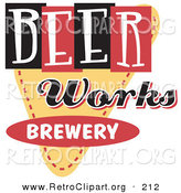 Retro Clipart of a Vintage Beer Works Brewery Advertisement Sign by Andy Nortnik