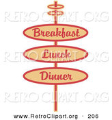 Retro Clipart of a Vintage Beige Restaurant Sign Advertising Breakfast, Lunch and Dinner by Andy Nortnik