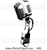 Retro Clipart of a Vintage Black and White Microphone Speaker, on White by KJ Pargeter
