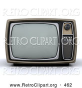 Retro Clipart of a Vintage Box TV with a Control Panel on the Side on White by KJ Pargeter