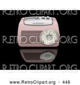 Retro Clipart of a Vintage Old Fashioned Pink Radio with a Station Tuner, on a Reflective Black Surface by KJ Pargeter