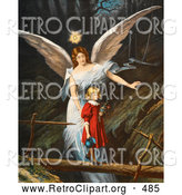Retro Clipart of a Vintage Painting of a Female Guardian Angel Guiding a Little Girl in a Red Dress Across a Dangerous Log Bridge over a Gorge, Circa 1890 by OldPixels