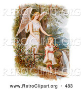 Retro Clipart of a Vintage Painting of a Female Guardian Angel Looking over a Little Girl As She Carries Flowers and a Basket Across a Log over a Cliff and River, Circa 1890 by OldPixels