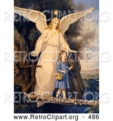 Retro Clipart of a Vintage Painting of a Female Guardian Angel Protecting a Little Girl As She Crosses a Gorge on a Narrow Bridge, Carrying a Basket and Flowers, Circa 1890 by OldPixels