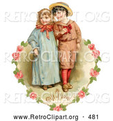 Retro Clipart of a Vintage Painting of a Sweet Little Boy and Girl Strolling Arm in Arm, Looking off to the Side, Circled by a Heart of Pink Roses Circa 1886 by OldPixels