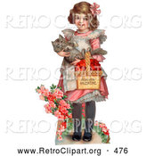 Retro Clipart of a Vintage Painting of a Sweet Little Girl Carrying a Basket of Red Hearts and a Cat in Her Arms, Walking in a Flower Garden, Circa 1885 by OldPixels