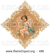 Retro Clipart of a Vintage Painting of an Angel in a Delicate Diamond by OldPixels