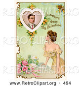 "Retro Clipart of a Vintage Poster of a Deceased Man with Text Reading ""In Memory Dear, My Valentine"" Circa 1910 by OldPixels"