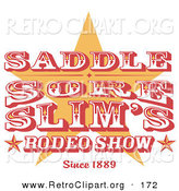 Retro Clipart of a Vintage Rodeo Sign with a Star on White by Andy Nortnik
