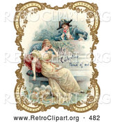 Retro Clipart of a Vintage Valentine of a Man Holding a Flower and Looking over a Patio Wall, Admiring a Young Lady, Bordered by Golden Flowers, Circa 18th Century by OldPixels
