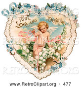 Retro Clipart of a Vintage Valentine Painting of Cupid with Ribbons, Prancing in White Lily of the Valley Flowers on a Lacy Heart with Forget Me Not Flowers, Circa 1890 by OldPixels