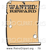 Retro Clipart of a Vintage Wanted Styled Sign Western Background by Andy Nortnik