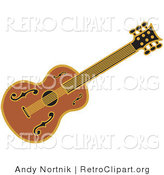 Retro Clipart of a Western Guitar over a Solid White Background by Andy Nortnik