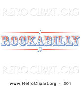 Retro Clipart of a Western Rockabilly Music Sign on a White Background by Andy Nortnik