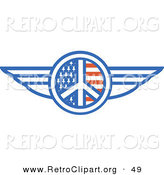 Retro Clipart of a Winged American Peace Sign over White by Andy Nortnik