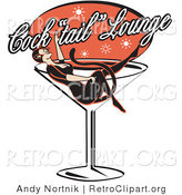 Retro Clipart of a Woman in a Cat Costume Relaxing in a Giant Martini Glass at a Cocktail Lounge by Andy Nortnik