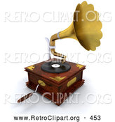 Retro Clipart of a Wooden Gramophone with a Handle and Golden Horn Playing Music from a Record, on White by KJ Pargeter