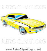Retro Clipart of a Yellow 1969 Chevrolet RS/SS Camaro Muscle Car with Black Stripes on the Sides and Chrome Detailing Driving Right by Andy Nortnik