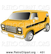 Retro Clipart of a Yellow 1979 Chevy Van with Tinted Windows and Black Striping on the Side Driving to the Left by Andy Nortnik