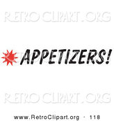 Retro Clipart of an Appetizers Sign with a Star Burst Design by Andy Nortnik