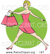 Retro Clipart of an Attractive Blond Woman with Short Hair Taking Long Strides and Carrying Shopping Bags Clipart Illustration by Andy Nortnik