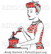 Retro Clipart of an Attractive Red Haired Housewife or Maid Woman Using a Manual Coffee Grinder by Andy Nortnik