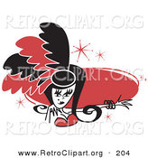Retro Clipart of an Attractive Showgirl in Red and Black Feathers, Holding out Her Arm in Front of a Red Circle by Andy Nortnik