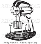 Retro Clipart of an Electric Stand Mixer in a Kitchen by Andy Nortnik