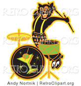 Retro Clipart of an Energetic Black Cat Playing the Drums While Entertaining at a Bar by Andy Nortnik