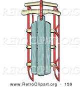 Retro Clipart of an Old Fashioned Green and Red Wooden and Metal Winter Sled by Andy Nortnik