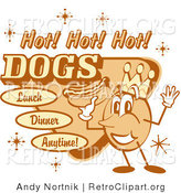 "Retro Clipart of an Old Fashioned Hot Dog Advertisement Showing a Circular King Character Holding a Hotdog and Text Reading ""Hot! Hot! Hot! Dogs Lunch Dinner Anytime!"" by Andy Nortnik"