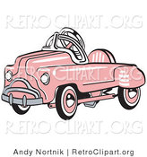 Retro Clipart of an Old Fashioned Pink Metal Pedal Convertible Toy Car by Andy Nortnik