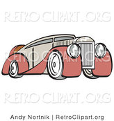Retro Clipart of an Old Fashioned Red and Grey Luxury Sedan Car by Andy Nortnik