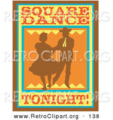 Retro Clipart of an Old Fashioned Sign Silhouetted Cowboy Square Dancing with a Woman by Andy Nortnik