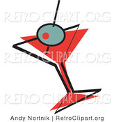 Retro Clipart of an Olive on a Toothpick in a Martini Glass by Andy Nortnik