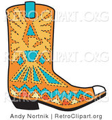 Retro Clipart of an Orange Aztec Style Cowboy Boot Design with Blue and Yellow Accents Around a Bird by Andy Nortnik