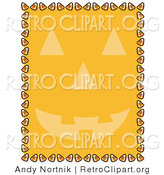 Retro Clipart of an Orange Background with a Smiling Jack O Lantern Face and a Border of Candy Corn by Andy Nortnik