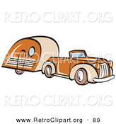 Retro Clipart of an Orange Convertible Car Pulling a Trailer and Driving Right by Andy Nortnik