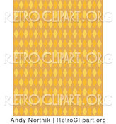 Retro Clipart of an Orange Patterned Background with Colorful Diamonds by Andy Nortnik