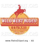 Retro Clipart of an Orange Vintage Wild West Rodeo Advertisement with a Cowboy Riding a Bucking Bronco by Andy Nortnik