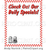 "Retro Clipart of Black and White Salt and Pepper Shakers and Text Reading ""Check out Our Daily Specials!"" Borderd by Red Checkers by Andy Nortnik"