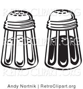 Retro Clipart of Black and White Salt and Pepper Shakers in a Diner by Andy Nortnik