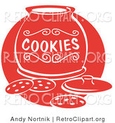 Retro Clipart of Chocolate Chip Cookies Resting on a Counter in Front of an Open Cookie Jar by Andy Nortnik