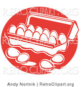 Retro Clipart of Four Loose Eggs Resting on a Counter near an Open Egg Carton by Andy Nortnik