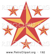 Retro Clipart of Pretty Red and Orange Stars over a Solid White Background by Andy Nortnik