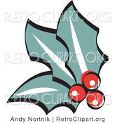 Retro Clipart of Red Holly Berries and Leaves by Andy Nortnik