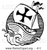 Retro Clipart of the Black and White Mayflower Ship Transporting Pilgrims to America by Andy Nortnik